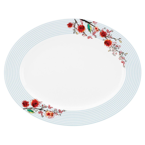 Lenox Chirp Stripe Oval Platter, White