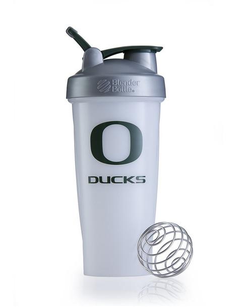 BlenderBottle Classic NCAA Collegiate Shaker Bottle, University of Oregon - White/Silver, 28-Ounce