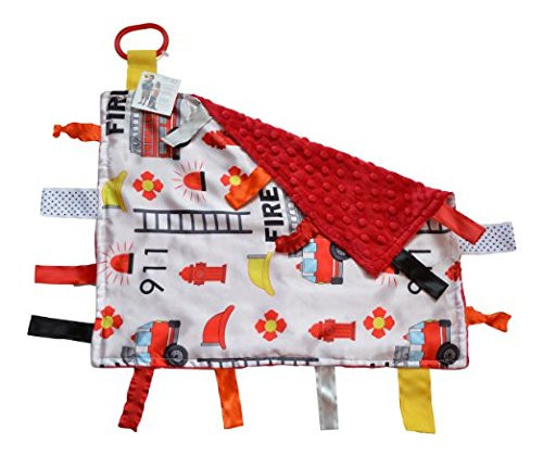 Sensory Baby Tag Blanket, Fire Fighter, Fire Rescue Squad Blanket 14x18 Lovey