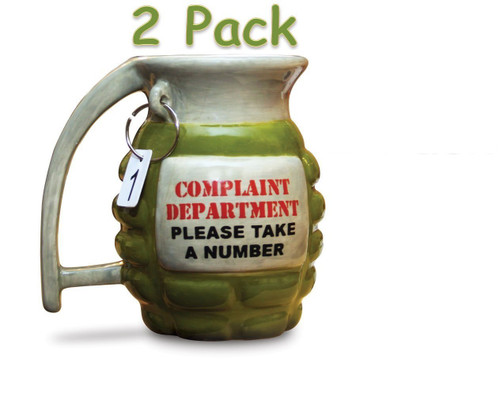 Big Mouth Toys Grenade Mug - Take a Number, Pack of 2