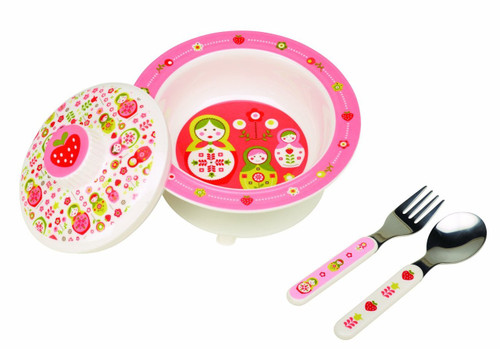 Sugarbooger Covered Suction Bowl Gift Set, Matryoshka Doll