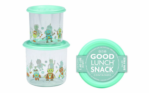 Sugarbooger Good Lunch Large Snack Container, Retro Robot, 2 Count