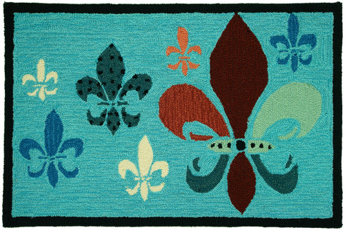 Homefires Accents Fancy Fleur De Lis Teal and Brown 22-Inch by 34-Inch Indoor Rug