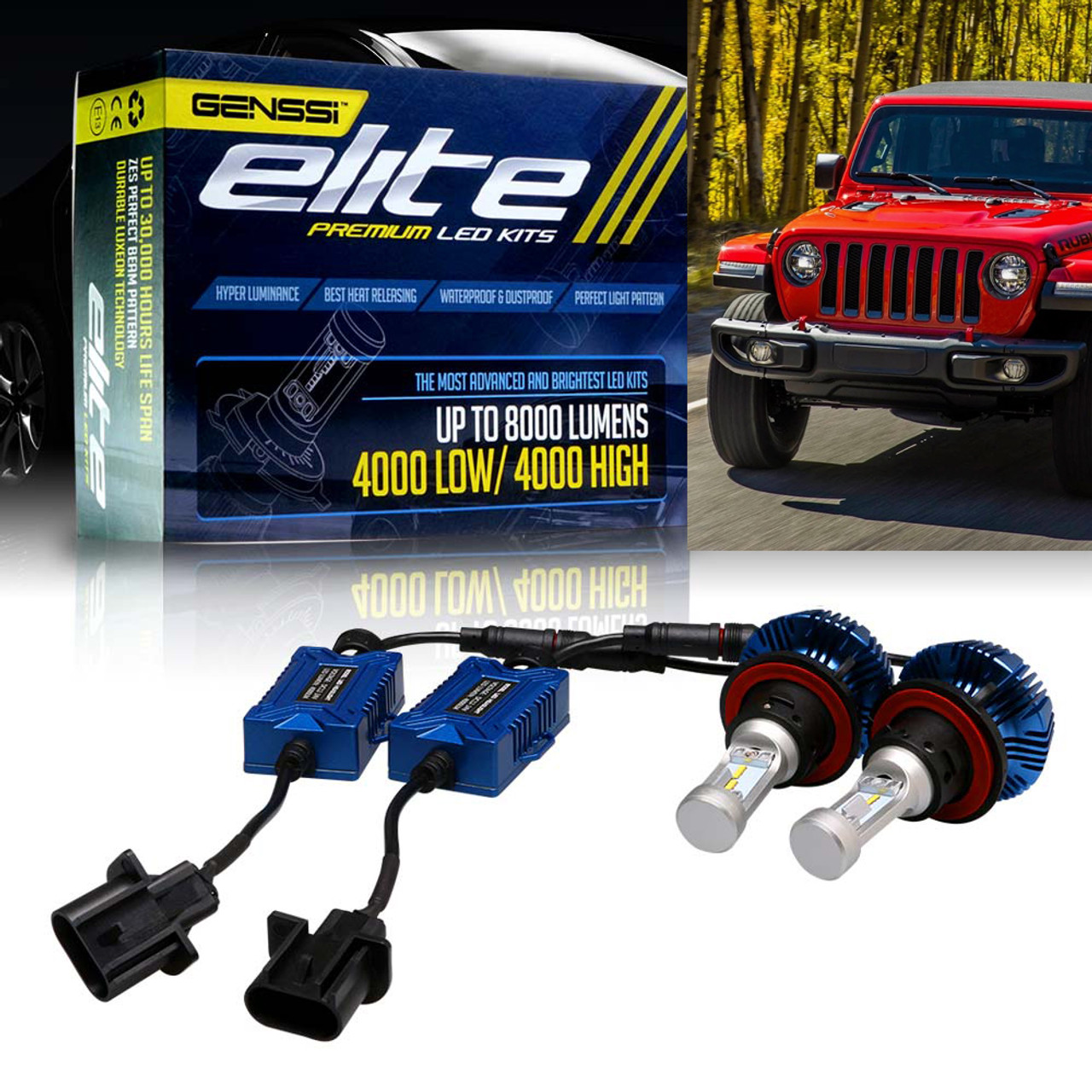 Led Headlight Conversion Kit For Jeep Wrangler Jl 2018 Up