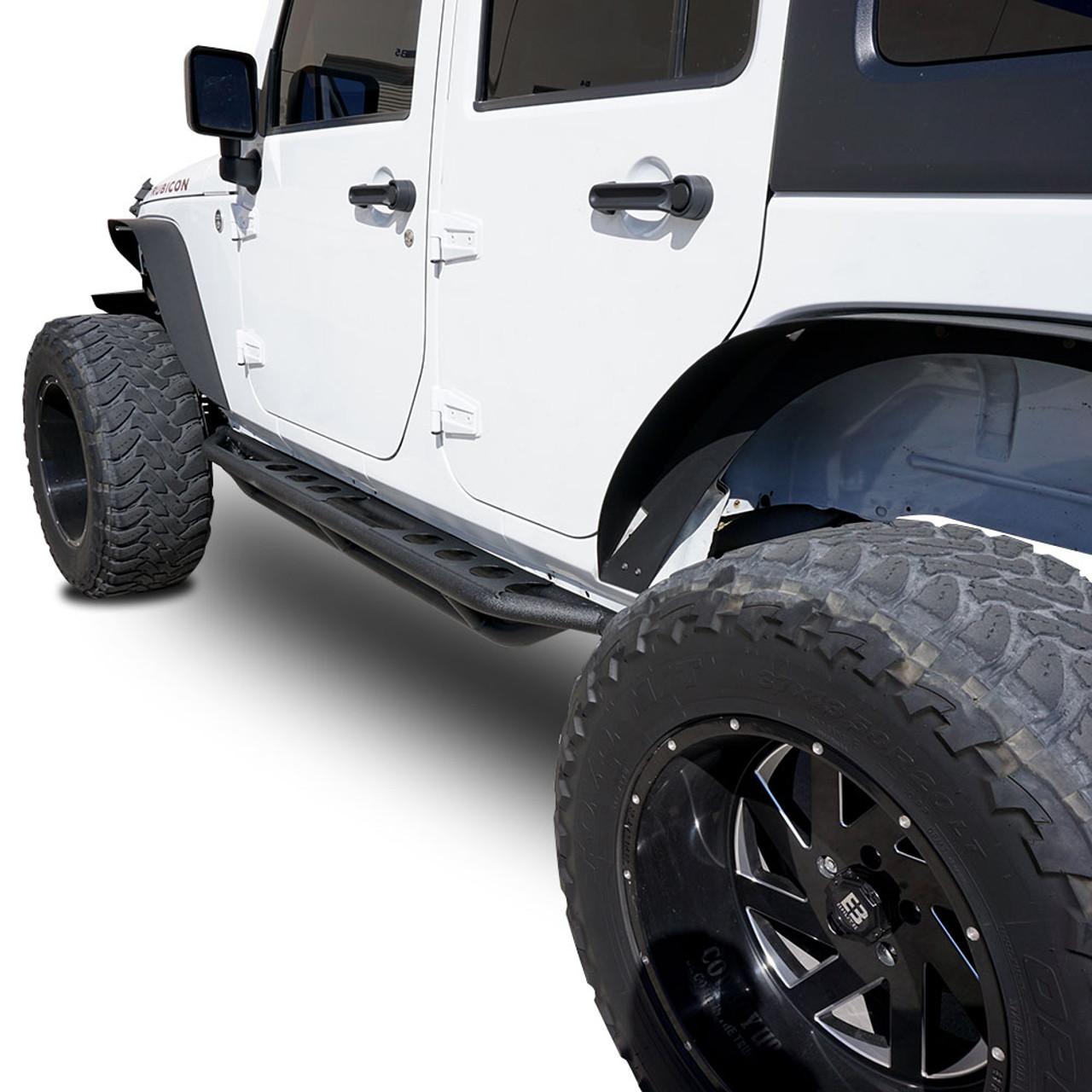Jeep Wrangler Top View >> Running Boards Side Steps Rail Steps Rock Sliders 2007-2018 Jeep Wrangler 4dr - JEEPFEDERATION