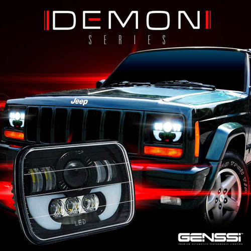 DEMON LED Black Projector Headlights w/DRL for XJ and YJ ...