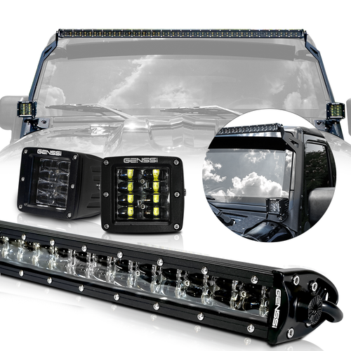 LED Light Bar Combo Kit with AUX Lights & Bracket Wiring Harness Kit for Wrangler JK 2007-2017