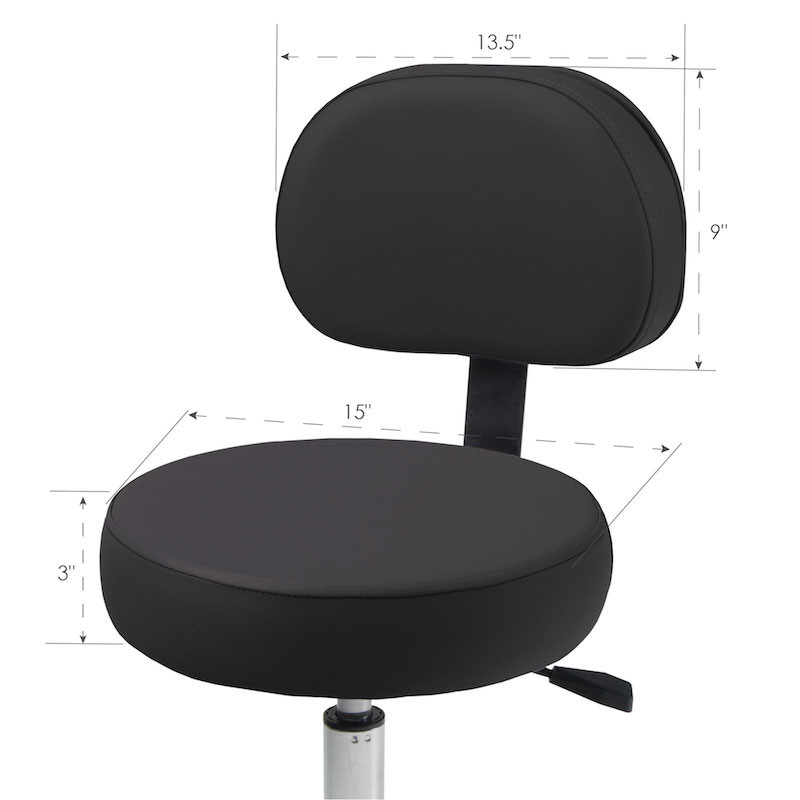 Pneumatic Massage Stool With Back - dimensions