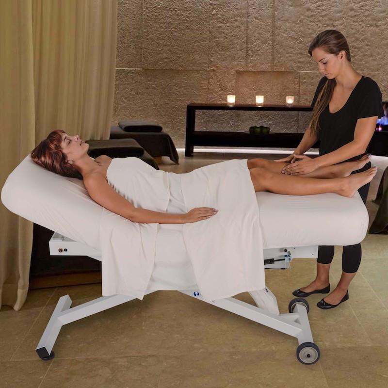 EarthLite Ellora Salon Stationary Massage Table - in use