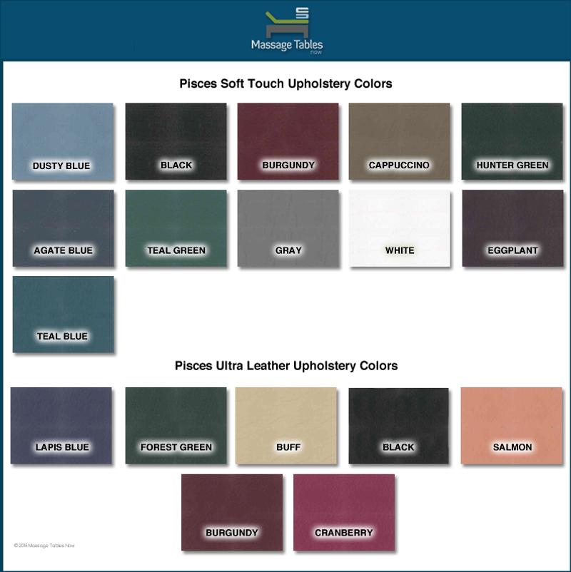 Pisces Pro New Wave II Hardwood Massage Table-color chart
