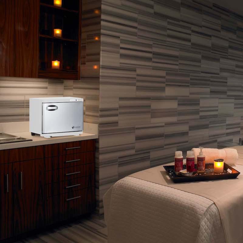 Earthlite Standard UV Hot Towel Cabinet - in room