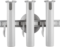 SeaSucker 3 Rod Holder with 152 mm Vacuum Mount Front View; the removable boat rod holder solution capable of transporting 3 fishing rods and can also be used for light trolling. Can also be upgraded by heavier outfits by adding more vacuum mounts