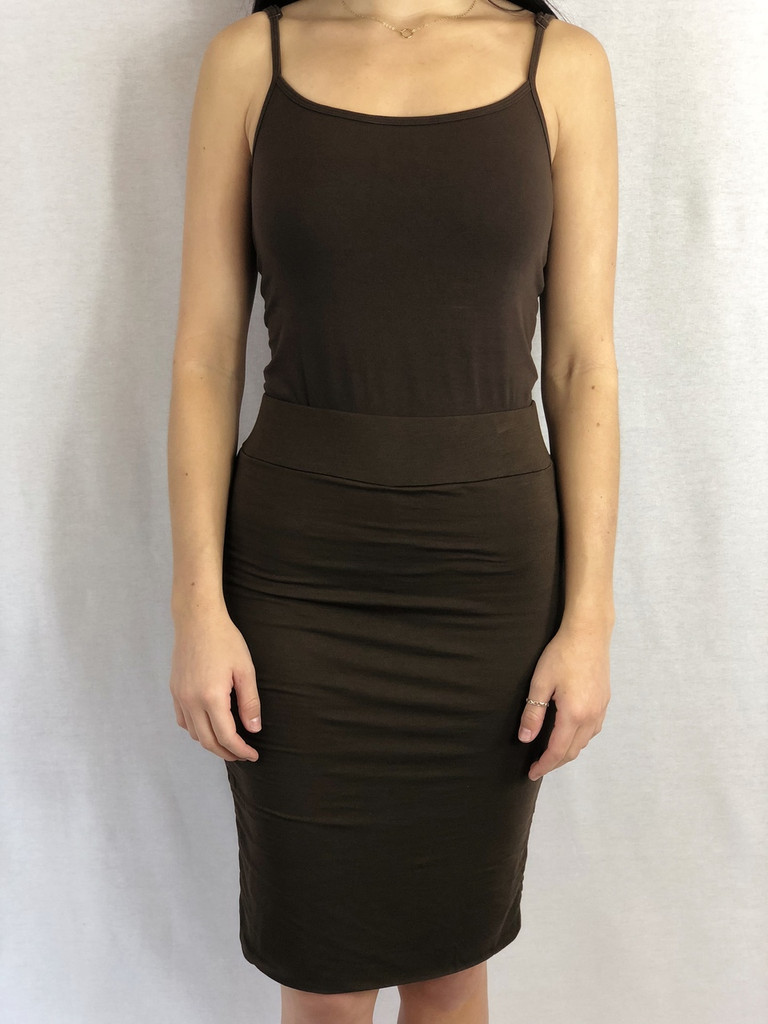 Brown Pencil Skirt Paired With Brown Adjustable Spaghetti Strap Tank