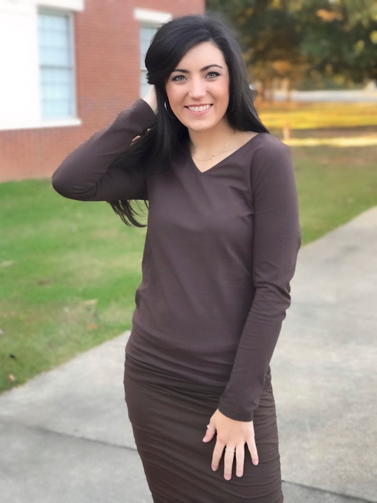Brown Pencil Skirt Paired With Slim Fit Long Sleeve Top