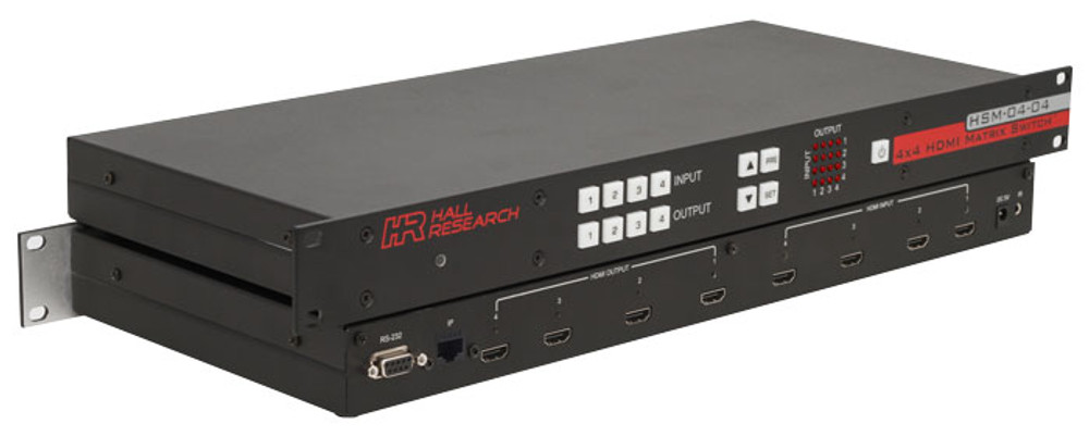 Hall Research 4x4 HDMI Matrix Switch with RS232 and IP Control (HSM-I-04-04)