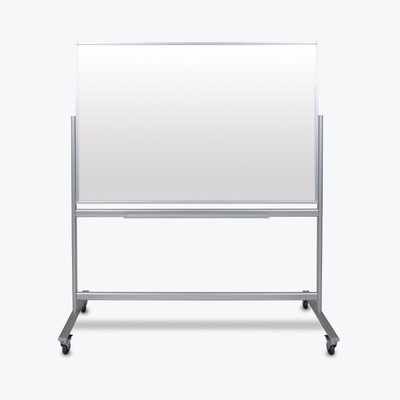 "Luxor 60""W x 40""H Double-Sided Mobile Magnetic Glass Marker Board"