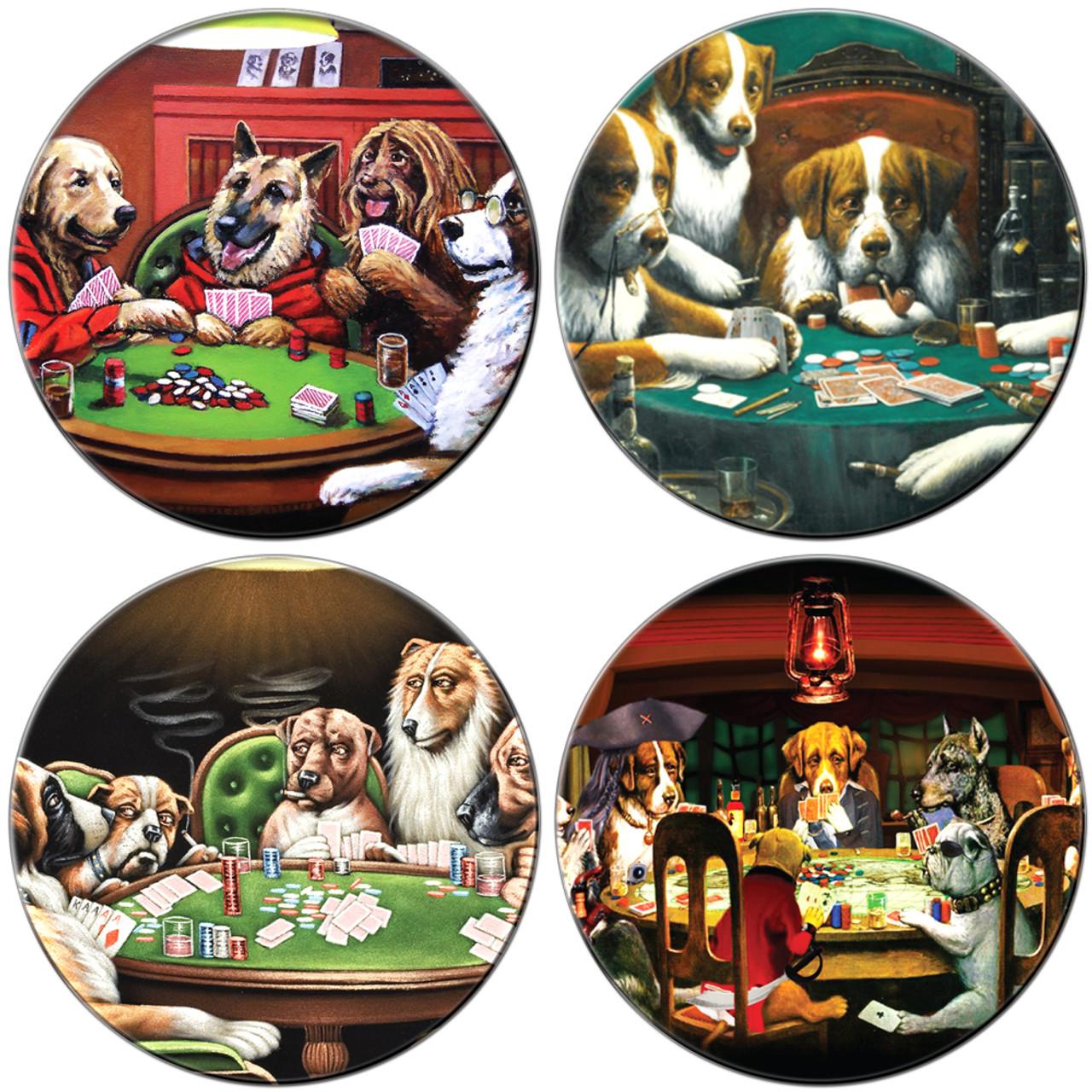 Dogs Playing Poker Coaster Set