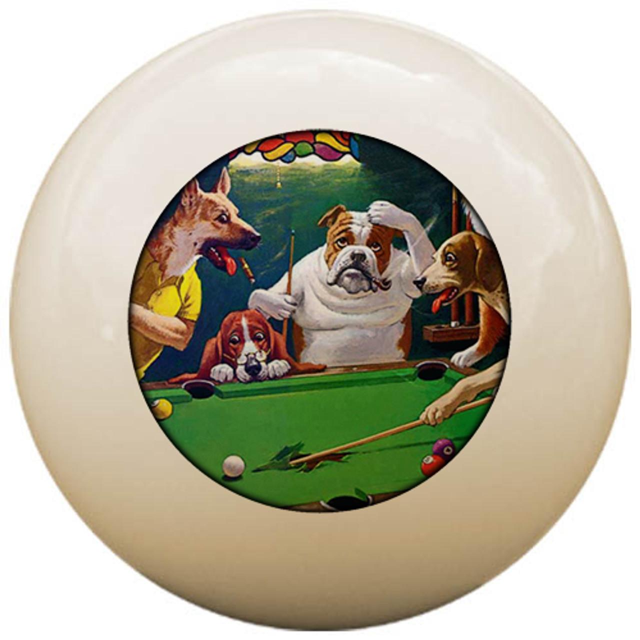 Custom Pool Cue Ball - Dogs Playing Pool