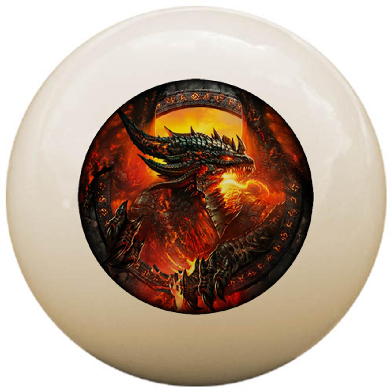 Custom Pool Cue Ball - Fire Breathing Dragon