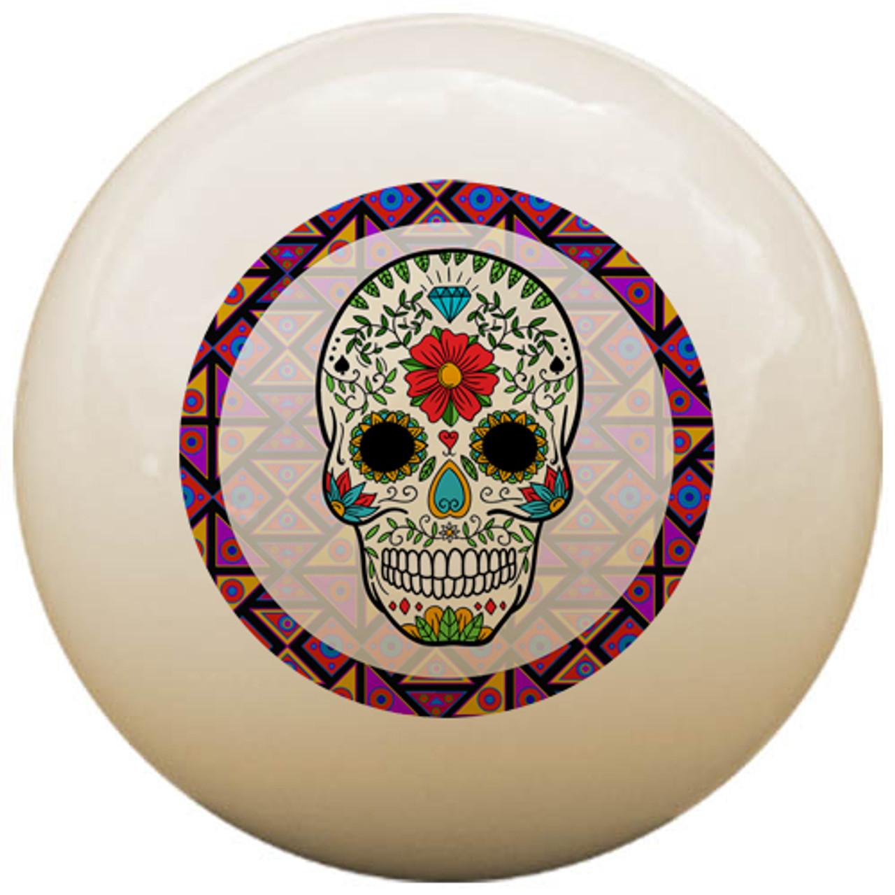 Custom Pool Cue Ball - Sugar Skull