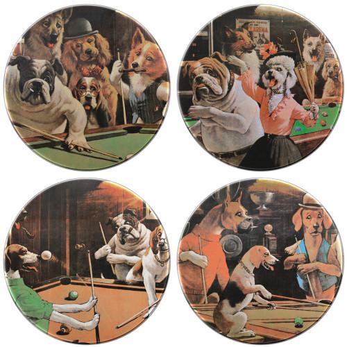 "Coaster Set - ""Dogs Playing Pool"""