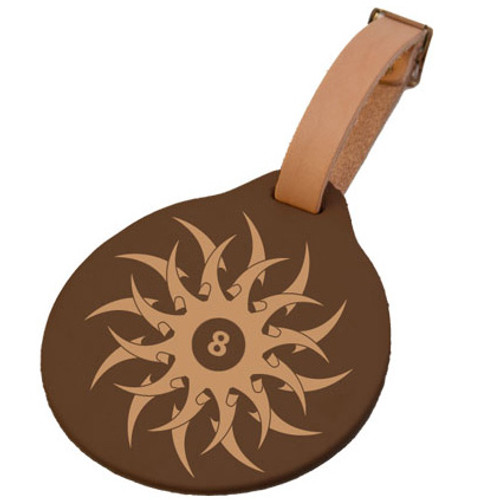 Leather Luggage Tag - Tribal 8-Ball (Round)
