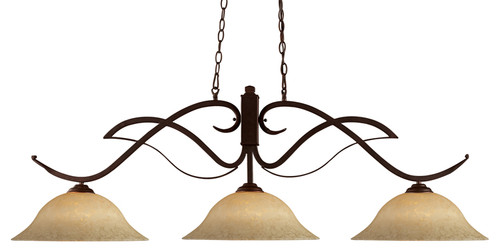 Phoenix Pool Table Light - Bronze with Golden Motte Glass Shade