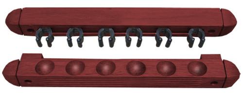 Roman-Style Two-Piece Wall Rack, Mahogany, 6 Cue