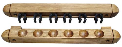 Roman-Style Two-Piece Wall Rack, Oak, 6 Cue