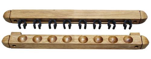 Roman-Style Two-Piece Wall Rack, Oak, 8 Cue