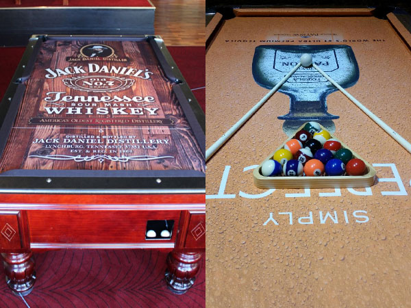 Custom Pool Table Felt Designs CueSightcom - Jack daniels pool table