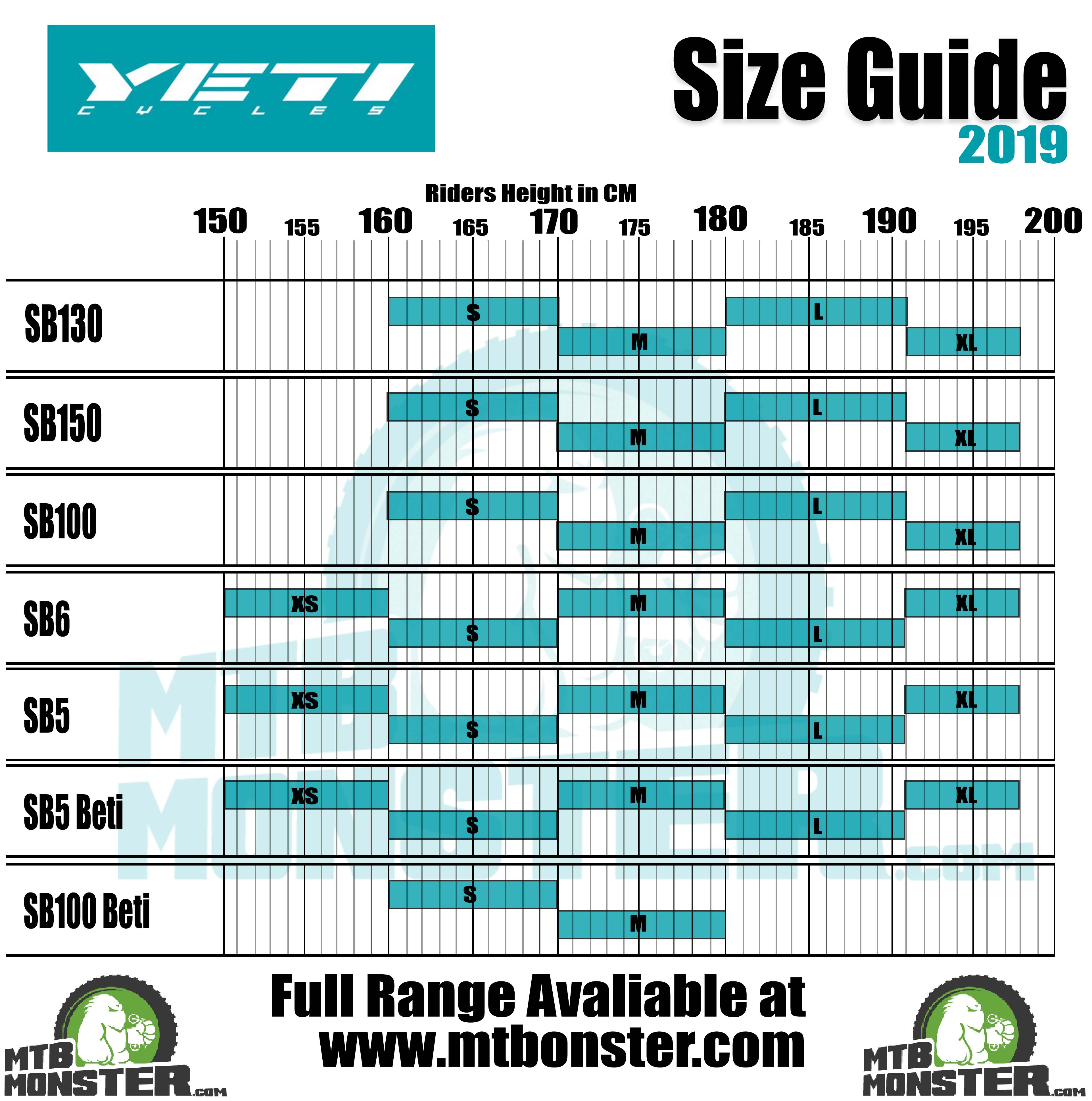 Yeti Bikes Sizing Guide | What size frame do I need?