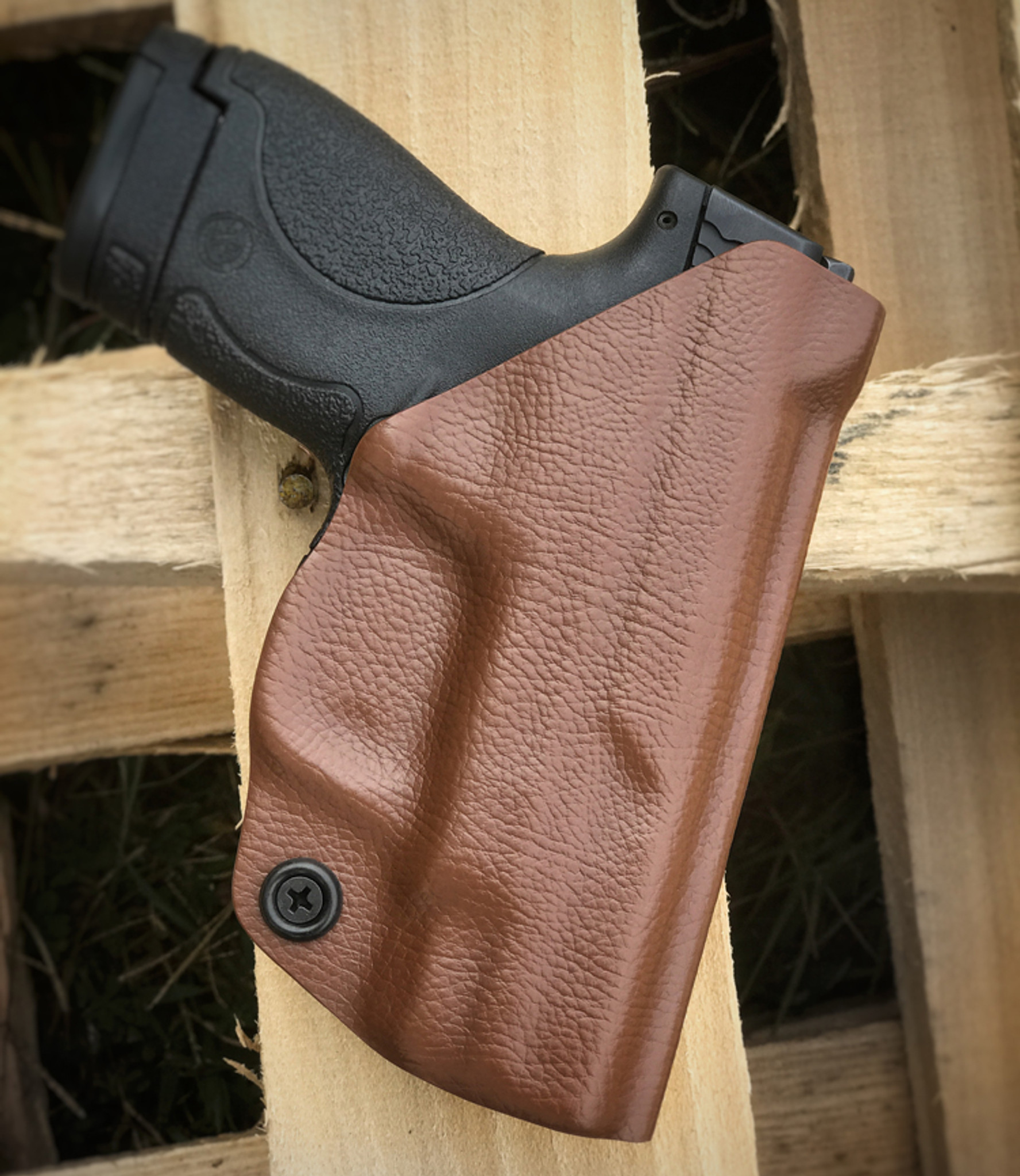 M&P Shield Paddle Holster in Brown Leather Texture