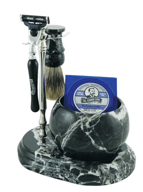 Colonel Conk Hand Crafted Marble Shave Set