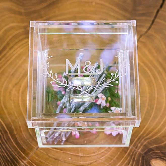 Acrylic Wedding Ring Box - Personalized - Woodland Pretty