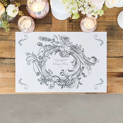 Vintage Place Mats in Floral Frame - Paper - Personalized