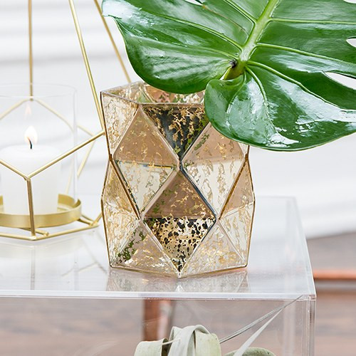 Gold Geometric Mercury Glass Hurricane Vase Candle Holder
