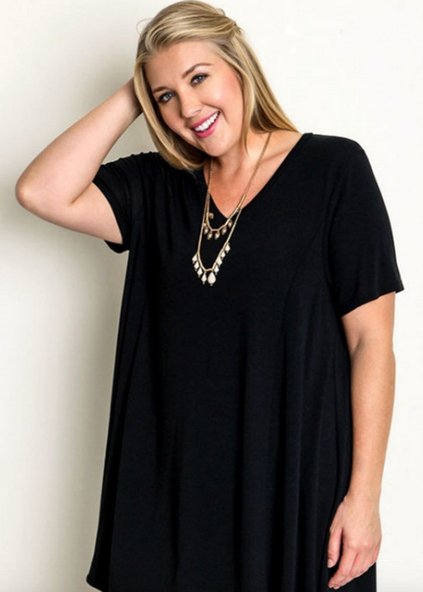 Black V-Neck T Shirt Dress - WA1418