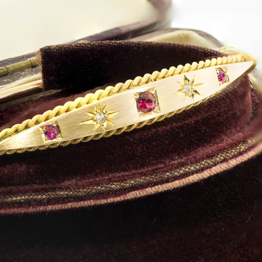 Antique Ruby and Diamond Star 15 Ct Gold Bangle