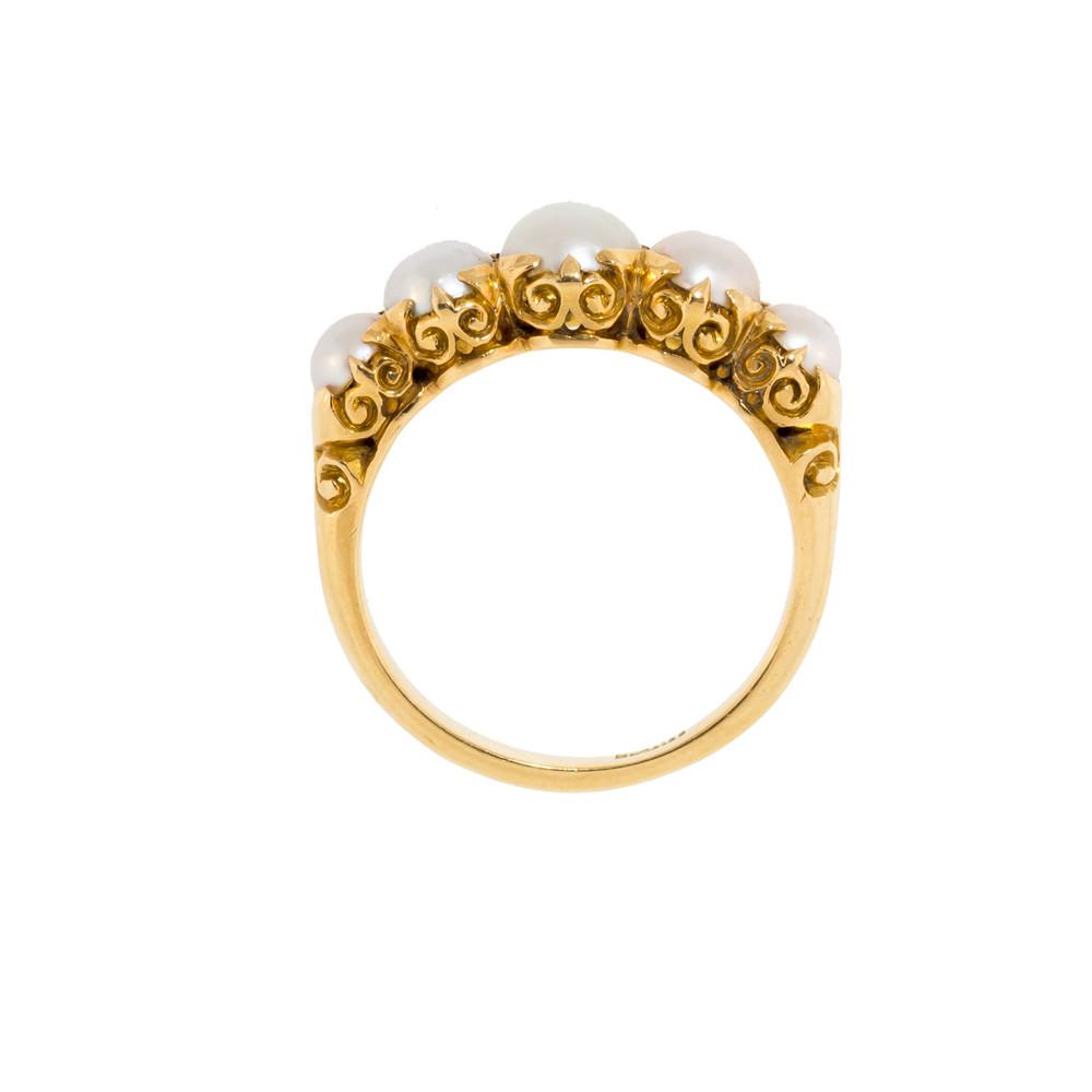Antique Pearl Ring with Fleur de Lys Pattern
