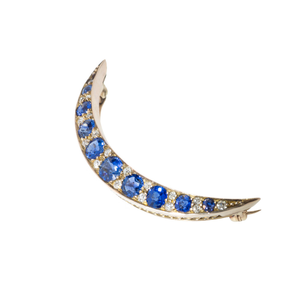 Antique Sapphire and Diamond Brooch