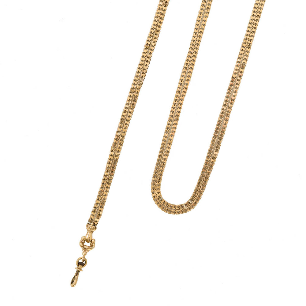 Antique French long 18 Kt gold watch chain with gloved hand and swivel clip