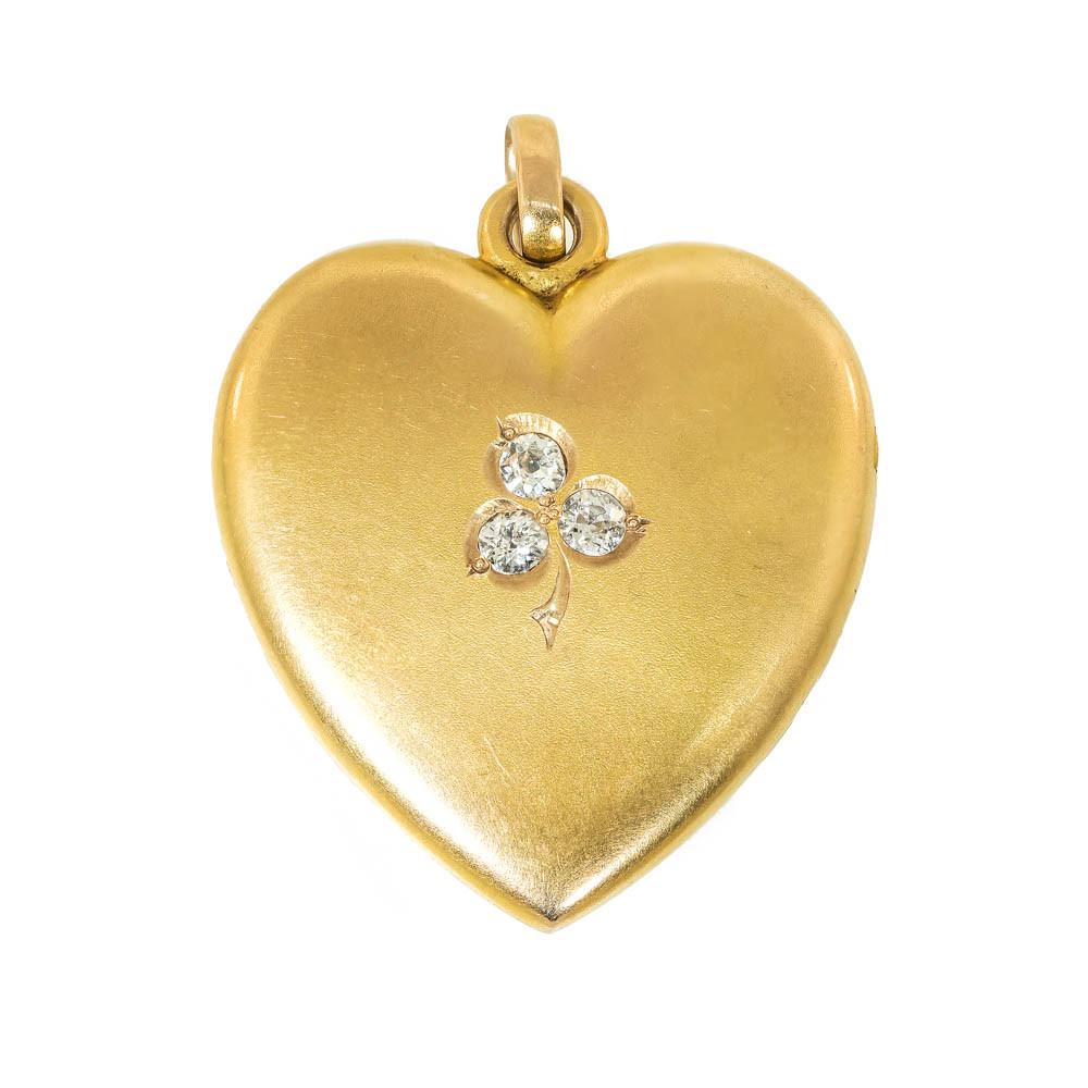 Antique Victorian Heart Locket with Diamond Clover