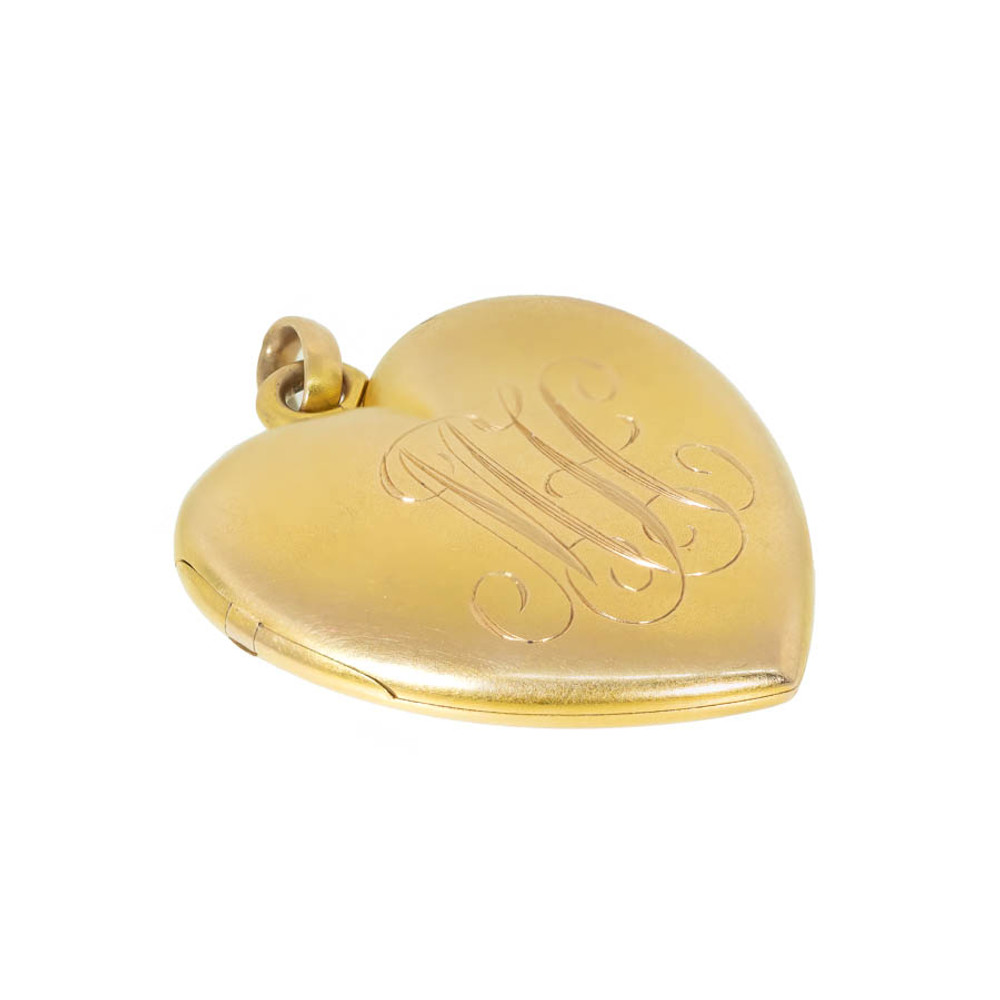 Antique Gold Heart Locket with MH Monogram or M Initial and H Initial
