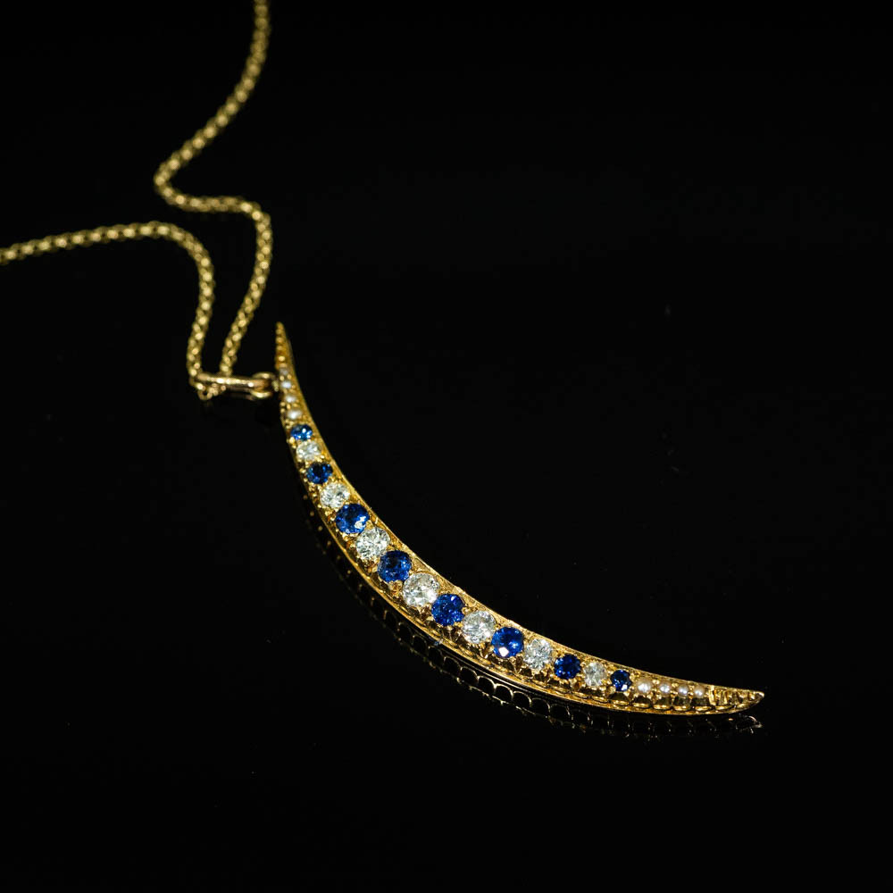 Converted Antique 14 Ct Gold Diamond & Sapphire Crescent Pendant on 14 Ct Gold Chain