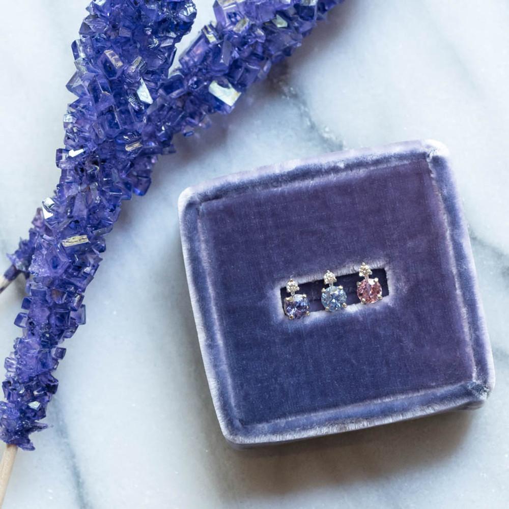 Sapphire and Diamond Single Stud Earring Stacking Set