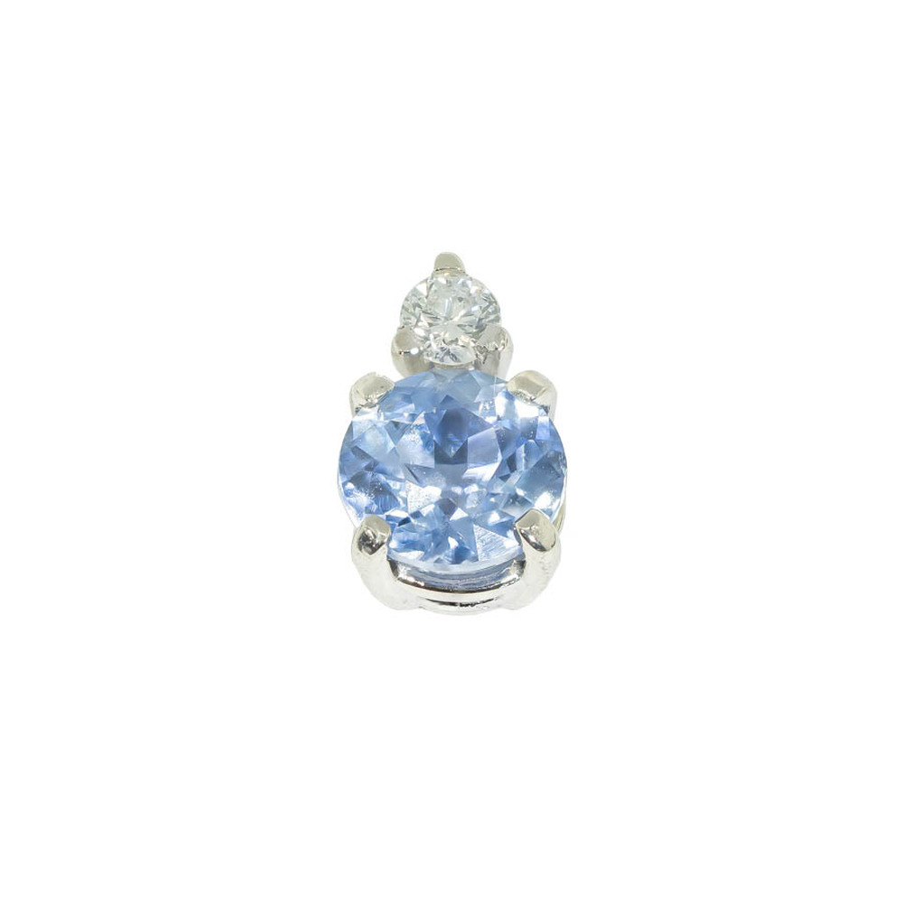 Ceylon Blue Sapphire and Diamond Single Stud Earrings