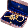 Antique Sapphire & Diamond Horseshoe and Equestrian Brooch in 18 kt Gold