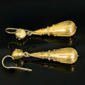Victorian Etruscan Revival 18 Kt Gold Long Drop Earrings