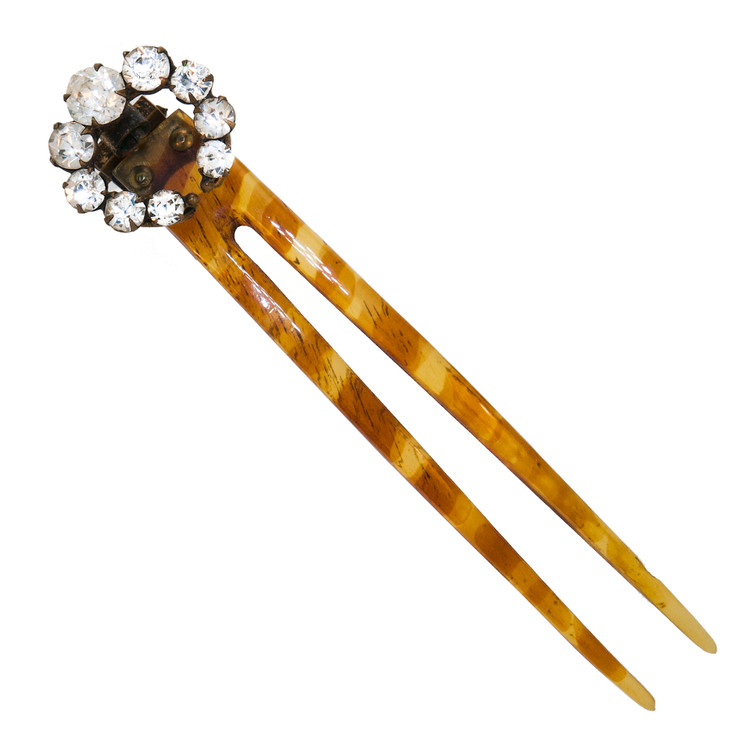Antique Paste and Horn Hair Pin